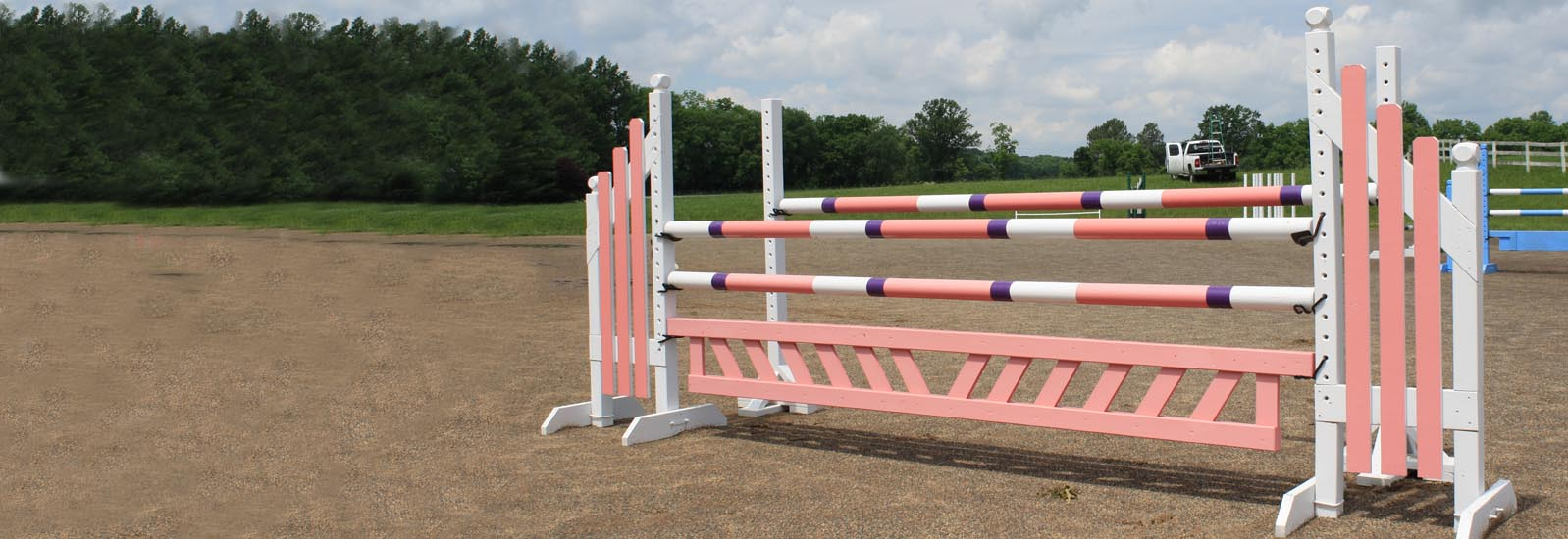 horse jump with poles, standards, and gate