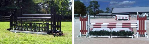 horse jump flower boxes