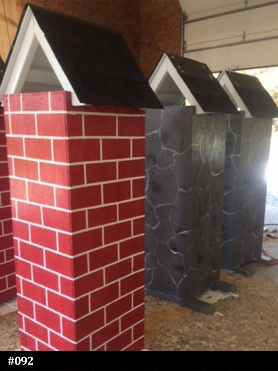stone and brick veneer horse jump columns