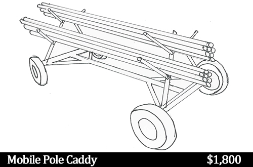 mobile pole caddy drawing