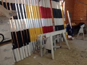 striped horse jump poles