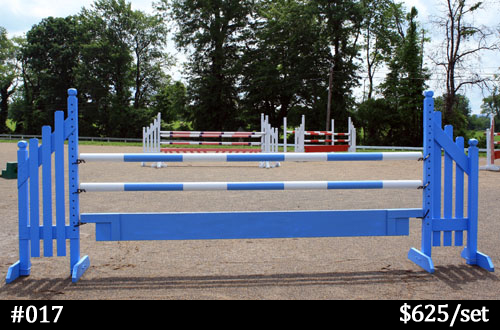 bright blue and white horse jump