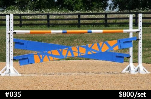 horse jump with crossed planks