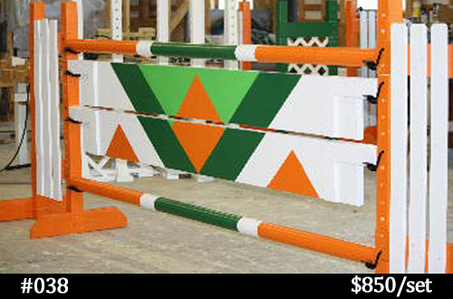 green diamond and orange horse jump