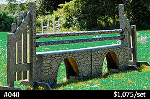 gray stone-look aqueduct horse jump