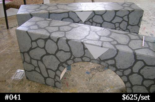 gray stone-look horse jump wall