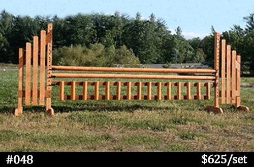 natural wood stain horse with vertical gate
