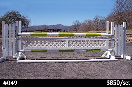 green and white horse jump with lattice gate