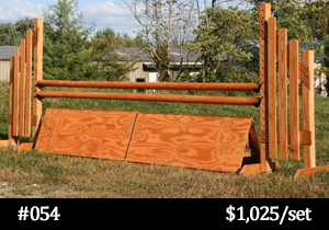 natural wood-stained horse jump