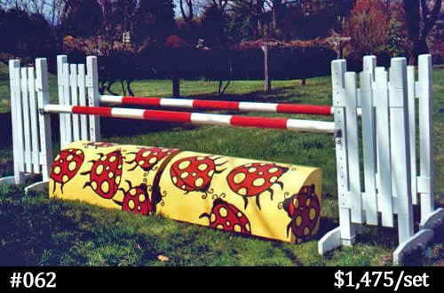 lady bugs on yellow roll top horse jump