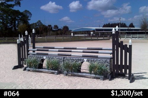 gray aqueduct horse jump with flower box