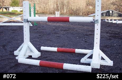 red and white child-sized horse jump