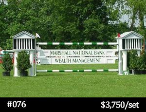 green and white Marshall National Bank horse jump