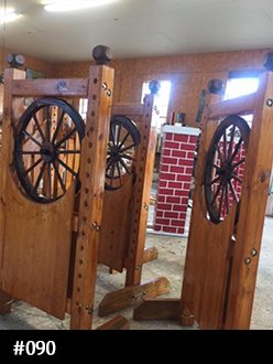 Wagon wheel honey gold stained horse jump standard