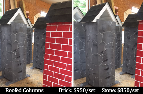 Roofed columns horse jumps in brick and stone patterns