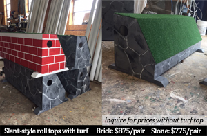 slant style roll top with turf